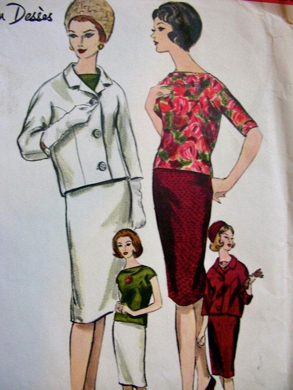 Vintage VOGUE Paris Original Jean Desses - Sewing Pattern 1065 -  3 Piece Suit - UNCUT with label. Size 18