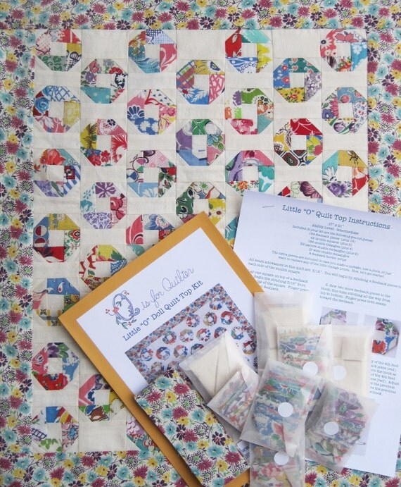 "Little ""O"" Feedsack Charm Doll Quilt Top Kit -- Authentic Vintage Feedsack fabrics"