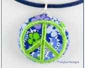 Green Peace Sign on Blue Floral Small Button Necklace