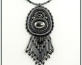 Embroidered Hematite Cabochon Necklace