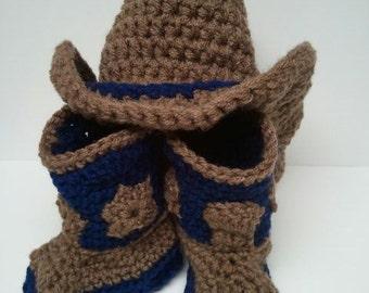Cowboy Boots and Hat with denim Flair, Cowboy Boots, Cowboy Hat, denim