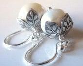 White Pearl Earrings Bridal, Freshwater Pearl Earrings, Sterling Silver Earrings Silver Wedding Earrings Bride Pearl Wedding Earring Classic