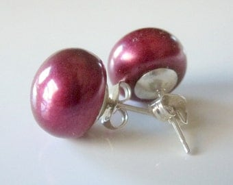 Red Pearl Studs, Red Pearl Earrings, Freshwater Pearl Studs, Red Stud Earrings, Silver Post Earrings, Red Pearl Jewelry, Large Pearl Earring