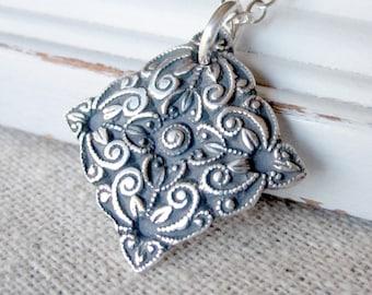 Silver Pendant Necklace, PMC Fine Silver Jewelry, Fine Silver Necklace, Antique Button Jewelry, Art Deco Necklace, Oxidized Silver Necklace