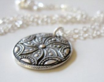 Silver Medallion Necklace, PMC Fine Silver Jewelry, Fine Silver Pendant, PMC Artisan Necklace, Silver Antique Button Pendant, PMC Pendant
