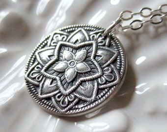 Antique Button Necklace, PMC Pendant, Antique Style Jewelry, Vintage Inspired Necklace,  PMC Fine Silver Jewelry,  Oxidized Silver Pendant