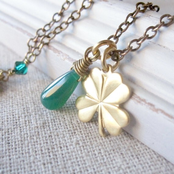 ON SALE Four Leaf Clover Necklace, Charm Necklace, Green Gemstone, Irish Jewelry