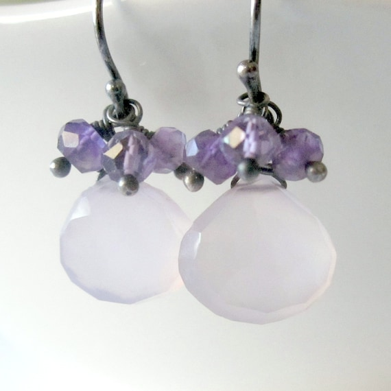 Purple Chalcedony Earrings, Oxdized Sterling Silver, Amethyst