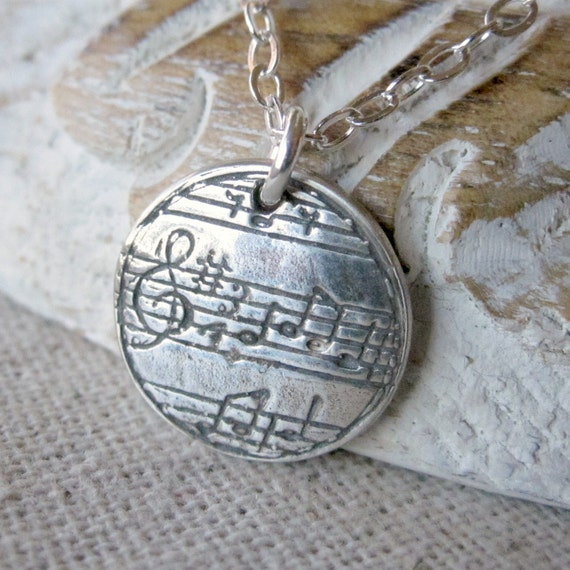 Music Necklace, Music Pendant, Fine Silver Jewelry, Music Jewelry, Music Note, PMC Necklace, Sheet Music Jewelry, Musician Necklace