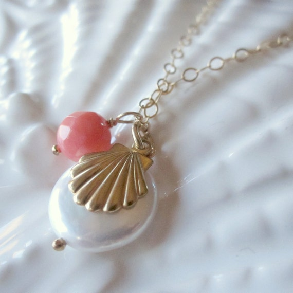 Pearl Necklace, Summer Jewelry, Beach Necklace, Beach Jewelry, Sea Shell Jewelry, Coral and Pearl,  14k Gold Filled Gemstone Necklace