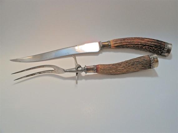 Antique Antler and Sterling Carving Set