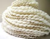 Handspun White Light Extra Skin Soft Merino Silk Blend Cream Silk Plyed Yarn 105yards