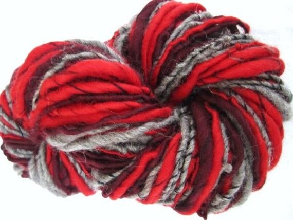 Hand Spun Corespun Yarn Shetland Tops and Red Merino 96yards