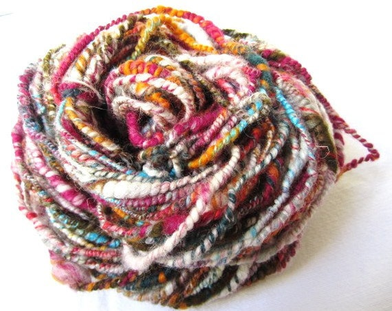 Handspun Artyarn Super Coil Plyed Silk Multi-Color Core Spun Skein 39yards