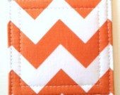 Set of 4 Coasters made w/ Designer fabric Chevron in Orange, Tangerine - LoveMyCoasters