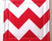 Chevron Coasters  in Red Set of 4