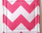 Set of 4 Coasters made w/ Designer fabric Chevron in  Bubble Gum Pink