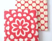 Coasters  Wall Flower in Cherry and Moon Dot in Cherry