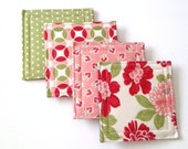 Set of 4 Mix and Match  Coasters made w/ Designer fabric Vintage Modern 002