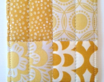 Coasters Quilted Made with Golden,  and Pale Yellows