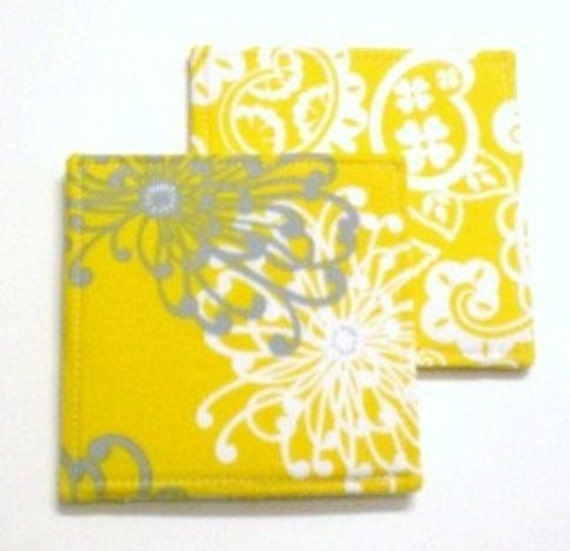 Coasters  Spider Mum and Paisley in Yellow