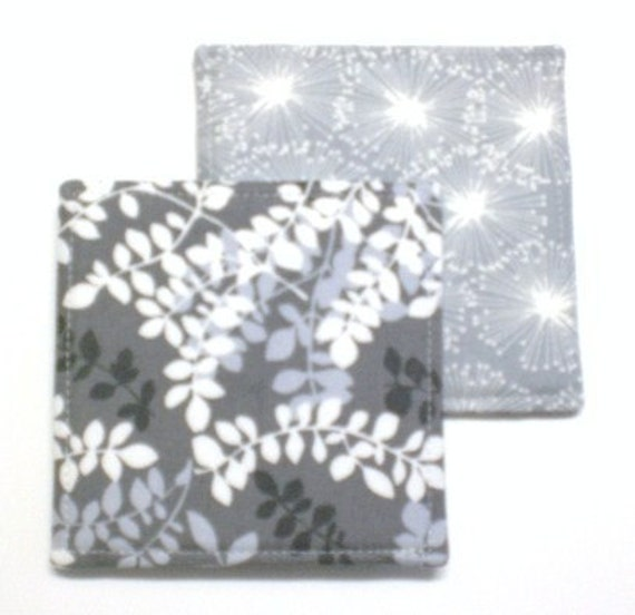 Set of 4 Reversible coasters made w/ Designer Fabric Packed Vines and Puffs in Gray
