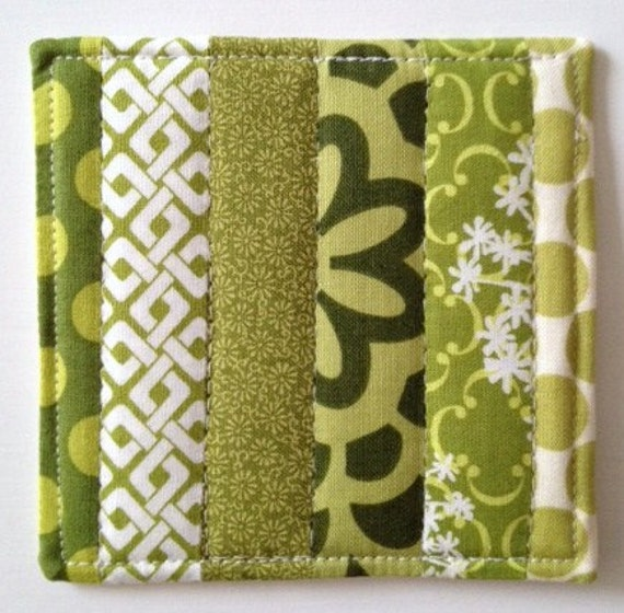 Coasters Quilted Made with Beautiful  Greens