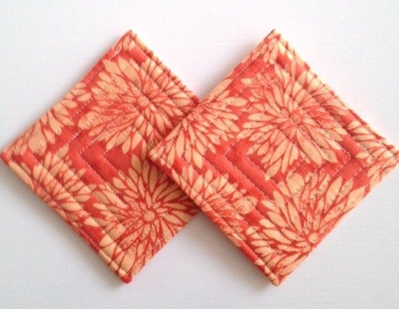 Coasters Set of 2 Ty Pennington Dahlia Orange