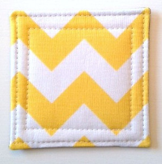Set of 4 Coasters made w/ Designer fabric Chevron in Yellow