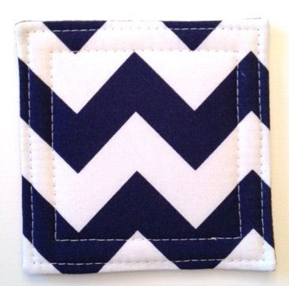 Chevron  Coasters  in Navy Blue Set of 4