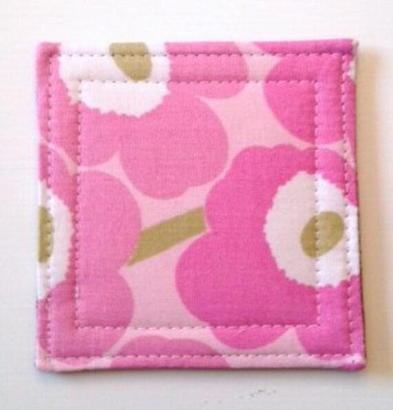 Set of 4  Coasters made w/ MARIMEKKO  Mini Unikko fabric, PINK