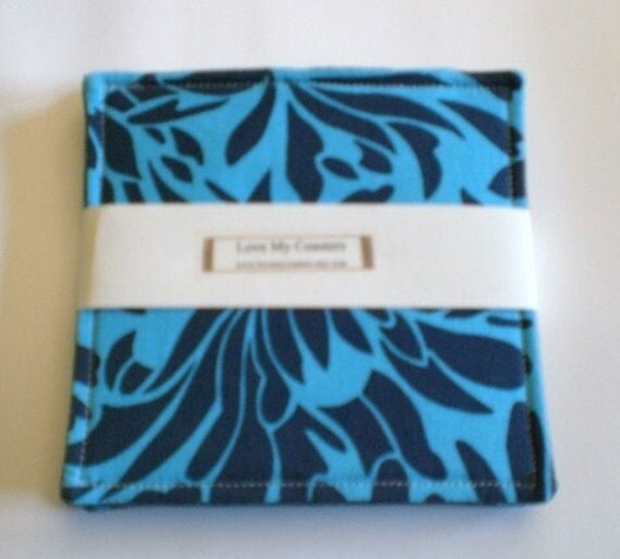 Set of 4 Coasters made w\/Amy Butlers fabric Indigo Daisy and upcycled Denim