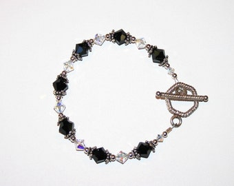 Jet Black and Clear Swarovski Crystal Bracelet with Sterling Silver findings