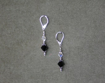 Jet Black and Clear Swarovski Crystal Earrings with Sterling Silver Lever Backs