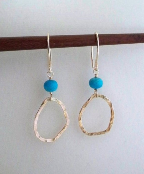 SAVE 20% - Glint - Natural Turquoise - Artisan Gold Fill Earrings