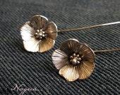 Flax Flowers Sterling Silver Earrings Handmade Metalwork
