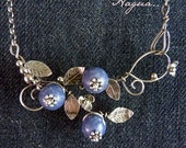 Blueberry amulet Sterling Silver Necklace Handmade Metalwork Original Unique