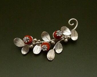 Cranberry brooch Sterling Silver  Handmade Metalwork