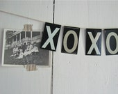 vintage metal sign letters x o x o  2 3/8 inches high