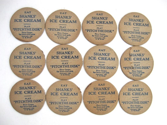 12 vintage milk bottle tops shanks' ice cream pitch the disk