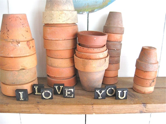 vintage i love you  anagram tile letters
