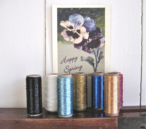 7 spools vintage punch embroidery thread