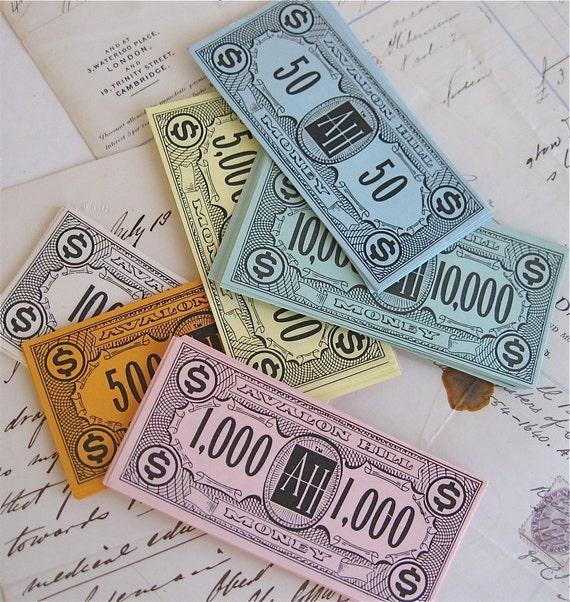 vintage pastel play money