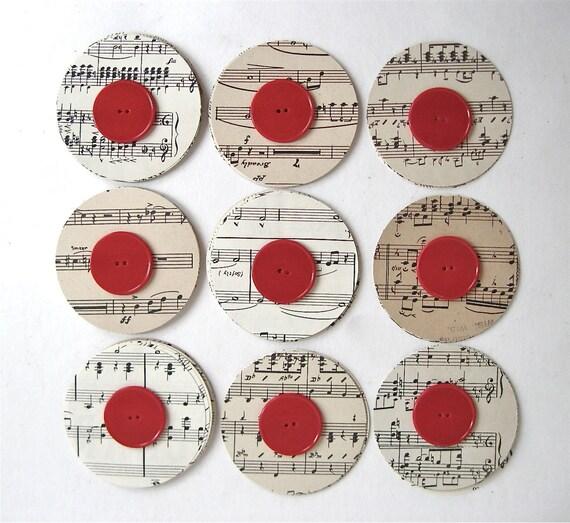 100 vintage sheet music circle 3 inches