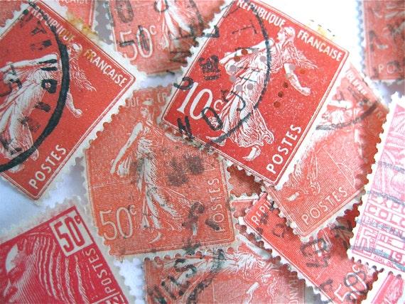 25 vintage french postage stamps france