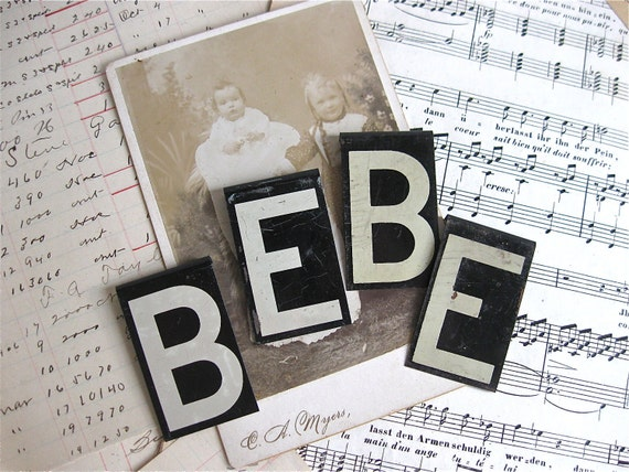vintage letters bebe 2 3/8 inches high baby shower