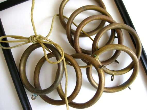8 big vintage brass curtain rings 3 3/8 inches in diameter