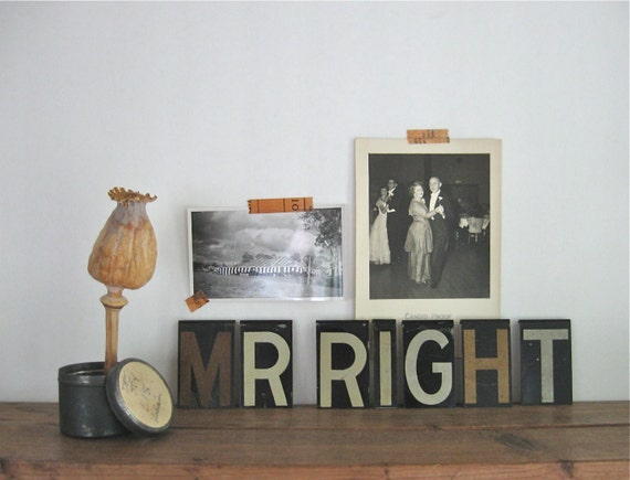 mr right, vintage metal letters, diy wedding banner, father's day, anniversary sign