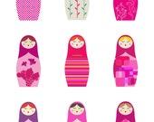 PINK Matryoshka Russian Dolls - 11x14 inches -giclee print - fine art paper