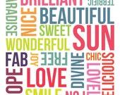 Positive Word Art - A4 - giclee print - fine art paper
